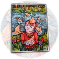 Paper Crane Catches Paper Fish